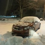 You can see how little snow is on the car yet the lot is covered, this is because it was not plo