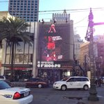 House of Hoops on Canal Street decorated for NBA All Star with jumbo screen