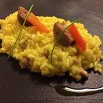 Risotto con gli agrumi e zafferano... Saffron and citrus risotto with salciccia