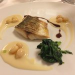 Sea Bass with spicy broccoli and cream of fagioli di controne...