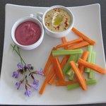Beetroot/orange dip, hummus and crudites