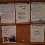 The hotel's notice board