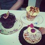 Yummy cakes!!! chocolate fudge, bananas CARAMEL Nd walnut, peach Tartlet.