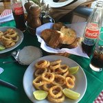 Calamari and Coca-Cola lunch