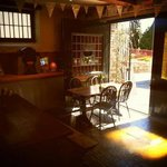 Cafe with barn doors open