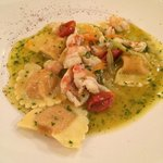 Pumpkin ravioli with shrimp