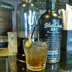 Restless Native, Blue Chair coconut rum, UV choclate cake, Muddled lime