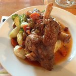 Lamb shank with potato mash and vegetables