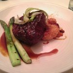 Petite filet, asparagus and a potato cake (don't remember what they called it)