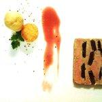 Marble of Foie Gras Papaya Chutney Inclusions Crispy Grapes and Their Gel, Brioche