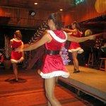 Dancers in Santa outfits