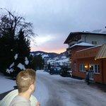 Sunset outside hotel