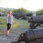 Deb inspecting the cannons at Fort James