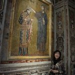 MY MOM IN FRONT OF THE PICTURE OF ROGER 2ND AND JESUS AT AT MARTORANA CHURCH IN PALERMO