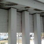 black mold along underside of balcony