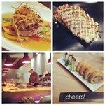 hamburguesa, teppanyaki y sushi