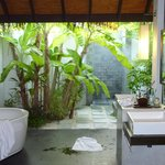 The open air bathroom, with banana tree!
