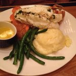 Lobster, green beans and mashed potatoes