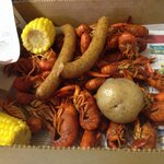 This is one pound of crawfish, the corn and sausage are extras.