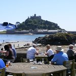 St Michael's Mount from The Godolphin Arms above Marazion beach