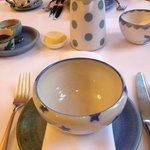 pretty and local pottery at breakfast