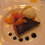 Chocolate tort with tangerine ice cream