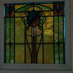 beautiful pieces of stained glass on our porch
