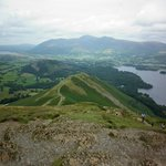 Catbells summit with Skiddaw in the distance