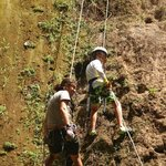 Rappeling with the guidance of Javier Baldovinos.