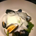 mussels with froth