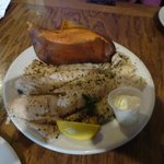 Broiled whiting and baked potato