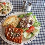 Moussaka with greek pasta salad