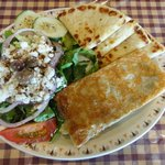 Spanikopita with greek salad