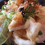Salt and pepper calamari with jellyfish salad