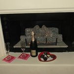 Fireplace in our room with the Champagne I pre-ordered...
