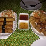 Crab spring rolls and golden bags - absolutely delicious!