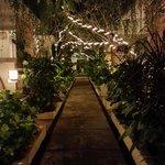 Main walkway of hotel (night)