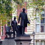 Abe Lincoln and Robert Peel Statues at Parliament Square