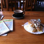 coffee and cake in the cafe while waiting out the weather