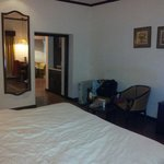 Suite-bedroom with tv, room heater and a writing table with mini bar and tea maker