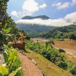 Stunning mnorning vista from River View bungalows across the Nam Ou