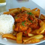 Chicken curry with rice and chips