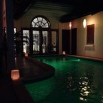 The pool by night. Try the ice green tea with sugar