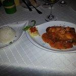 dorado with coconut crust and shrimp