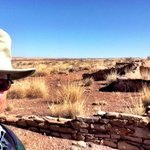 Terry Hunefeld at the ruined village of Puerco Pueblo in the Petrified Forest