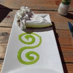Decorative presentation of key lime pie at The Hub