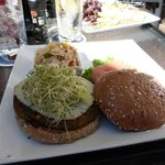 Veggie burger and side of pasta at the Waterfront Restaurant