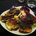 Grilled zucchini, eggplant and lettuce