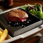 Try our famous black rock grill steaks