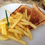 Sandwich met kip en patatjes